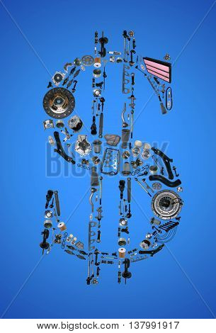 Dollar money with auto parts for car. Auto parts for car. Auto parts for shop, aftermarket OEM. Dollar with auto parts. Many auto spare parts isolated in money dollar