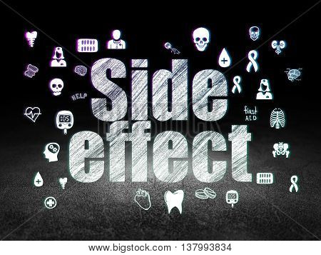 Health concept: Glowing text Side Effect,  Hand Drawn Medicine Icons in grunge dark room with Dirty Floor, black background