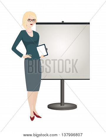 Political strategist is standing next to the stand on white background. Specialist in public relations stand attendant coordinator PR Manager and etc. Isolated vector illustration. Vertical location.