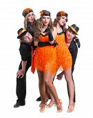 Cabaret dancer team dancing. Retro fashion style, isolated on white background in full length. poster