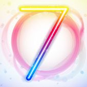 Vector - Number Rainbow Lights in Circle White Background poster