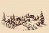 Farm landscape etch, agriculture scene poster
