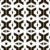 Abstract seamless pattern of trapezoidal, sagittate, hexagonal elements. Black and white geometric ornament. Vector illustration for modern creative design poster