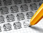 Construction increase and growing residential community concept as a sketch with multiple homes and a pencil drawing more homes as a real estate or housing investment economic activity with 3D illustration elements. poster