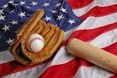 Baseball bat ang glove symbolizing the American Pastime poster