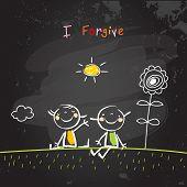 Positive affirmations for kids, motivational, inspirational concept vector illustration. I am forgiving text, typography. Chalk sketch on blackboard hand drawn doodle, scribble.  poster