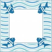 Illustration of wavy blue frame with fishes poster