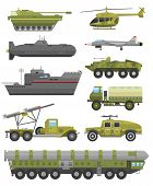 Military technic army, war tanks and military industry technic armor tanks collection. Military technic and armor tanks, helicopter, hurricane, missile system submarine, armored personnel carriers poster