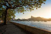 Idyllic View of Urca Neighborhood of Rio de Janeiro by Sunset poster