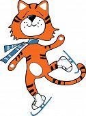 Tiger with scarf skates, vector illustration poster