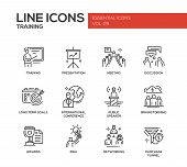 Business training - modern vector plain simple line design icons and pictograms set. Presentation, meeting, discussion, goals, conference, speaker, brainstorm, awards, idea networking purchase funnel poster