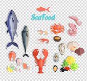 Seafood set design flat fish and crab. Lobster and food oyster, fresh seafood, shrimp and menu octopus animal, shellfish lemon, fresh seafood vector illustration poster