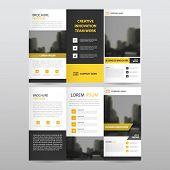 Yellow black triangle business trifold Leaflet Brochure Flyer report template vector minimal flat design set abstract three fold presentation layout templates a4 size poster