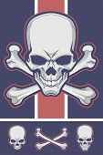 Crossbones Vector Stock with Optional Skull and Femurs poster