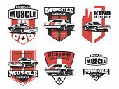 Set of classic muscle car logo emblems badges and icons isolated on white background. Service car repair restoration and car club design elements. Vector. poster