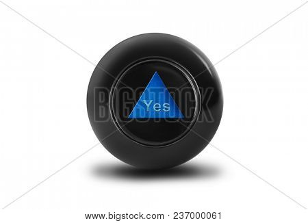 Magic ball with prediction Yes isolated on white background