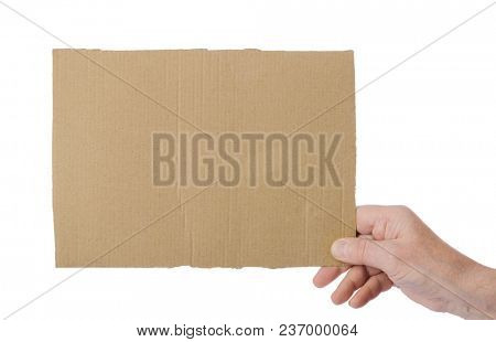 Hand with cardboard isolated on white background