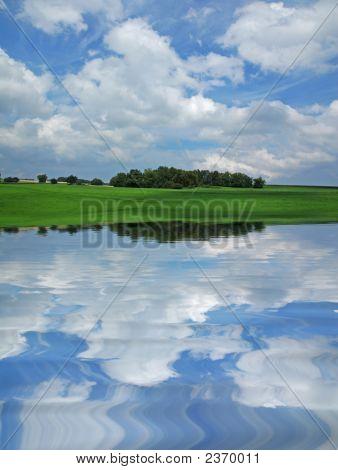Rural Scene With Water Reflection In Porrentruy Switzerland