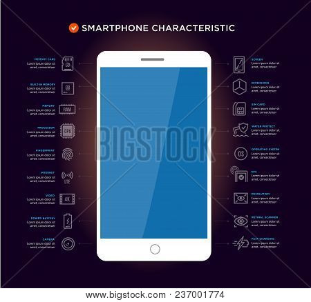 Mobile Device Components Vector Icon Set. Shop Smartphones