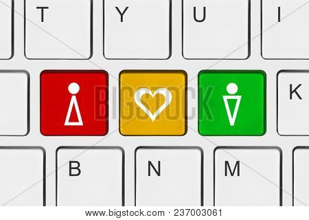 Keyboard with Love keys - technology concept