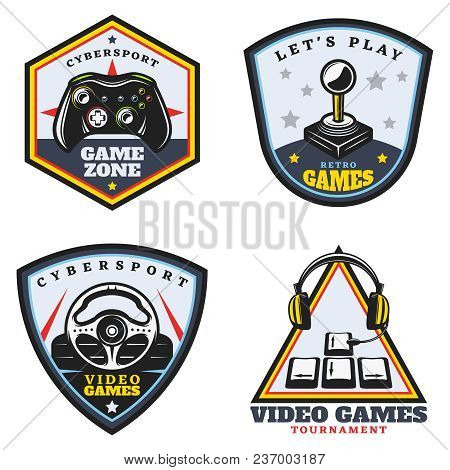 Vintage Colored Video Game Emblems Set With Joystick Portable Controller Steering Wheel Arrow Button