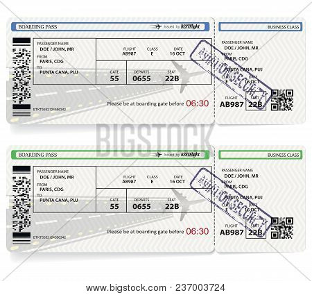 Two Variants Of Vector Airline Passenger And Baggage Boarding Pass Ticket With Barcode. Concept Of T