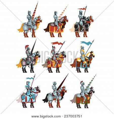Colorful Set Of Medieval Knights On Horseback With Flags And Spears. Cartoon Characters Of Royal War