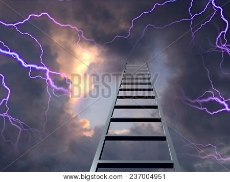 Lightning flashes with ladder to the top. 3D rendering