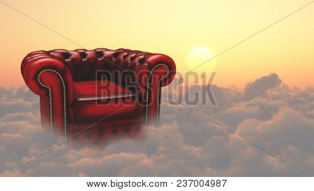 Armchair on a clouds. 3D rendering