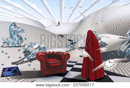 Surreal desert with chess figures. Figure in red hijab. Armchair. Painting with brush and dyes. Winged clocks represents flow of time. 3D rendering