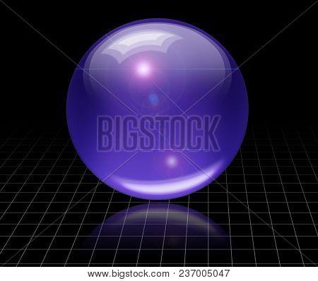 3D rendered purple glass ball. 3D rendering