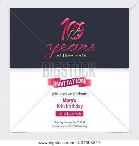 10 Years Anniversary Invite Vector Illustration. Graphic Design Element For 10th Birthday Card, Part