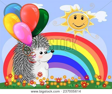 Lovely Cartoon Hedgehog Near The Seven-colored Rainbow In A Clear, Sunny Cheer, A Summer Day