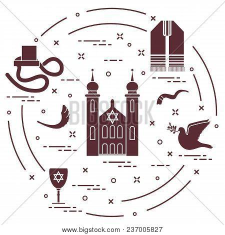 Jewish Symbols: Tfillin, Synagogue, Sheep's Horn