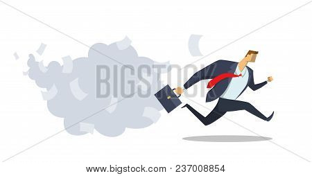 Businessman In Office Suit Running Fast Towards His Goal. Race For Success. Office Work. Deadline. H