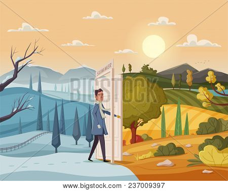 Man Goes Throught Open Door. Valley Landscape. Cartoon Vector Illustration. Vintage Poster. Welcome