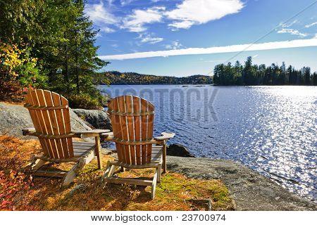Adirondack Chairs At Lake Shore