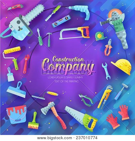 Set Of Different Construction Company Elements On Abstract Purple Background. Working Tools Icons It