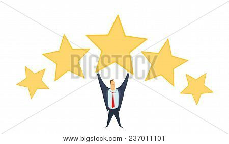 Businessman In Office Suit Holding Big Star Above His Head. Achieving Goals. Rating. Benchmarking. R