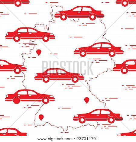 Pattern With Cars And Map Of Germany. Travel And Leisure. Design For Announcement, Advertisement, Ba
