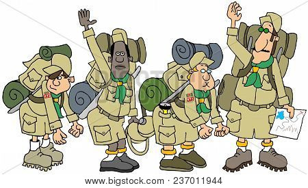 Illustration Of A Boy Scout Leader And His Troop On A Camping Trek With Their Backpacks.