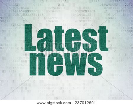 News Concept: Painted Green Word Latest News On Digital Data Paper Background