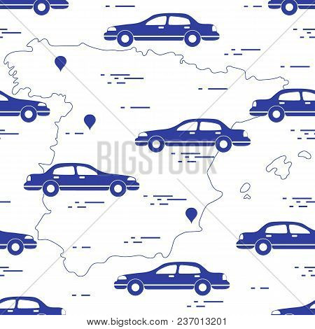 Pattern With Cars And Map Of Spain. Travel And Leisure. Design For Announcement, Advertisement, Bann
