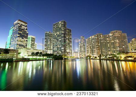 Skyline Of Downtown And Brickell Key At Night, Miami, Florida, Usa