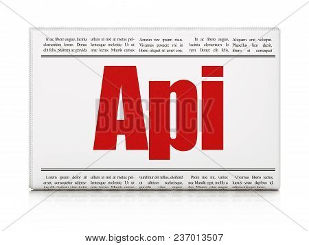 Programming Concept: Newspaper Headline Api On White Background, 3d Rendering