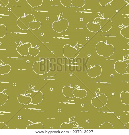 Apples Juicy Fruit. Seamless Pattern. Design For Announcement, Advertisement, Banner Or Print.