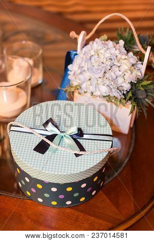 Anniversary, Feast, Presents Concept. There Is A Lovely Composition Made Of Small Bunch Of Little De