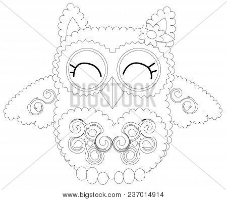 Coloring Book For Adult And Older Children. Coloring Page With Cute Owl.