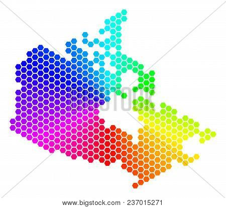 Spectrum Hexagon Canada Map. Vector Geographic Map In Rainbow Colors On A White Background. Spectrum