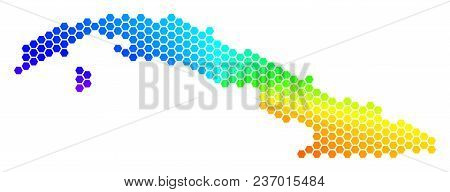 Hexagon Spectrum Cuba Map. Vector Geographic Map In Bright Colors On A White Background. Spectrum Ha